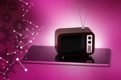 Old fashioned television with smart phone Stock Image