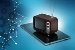 Old fashioned television with smart phone Stock Photos