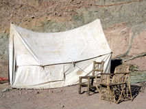 Old-fashioned Tent And Chairs Royalty Free Stock Photo