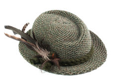Old-fashioned tirol man's hat. Isolated on white royalty free stock photos