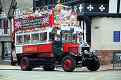 Old fashioned tour bus, Chester. Stock Image