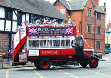 Old fashioned tour bus, Chester. Royalty Free Stock Photography