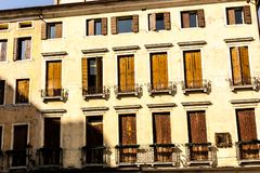 Old fashioned traditional wood window in Venice, Italy royalty free stock photos