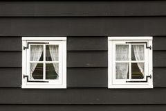 Old fashioned traditional wood windows in Amsterdam, The Netherlands royalty free stock photos