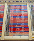 Old-fashioned train arrivals/departure board in Bucharest, Romania Stock Photos