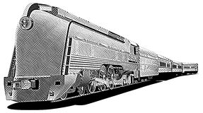 Old-fashioned train_engraving Royalty Free Stock Image