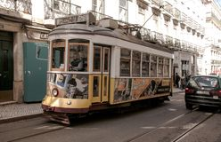 Old fashioned Train in Lisbon stock images