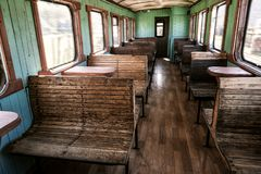 Old fashioned train wagon. Old retro fashioned passengers train wagon royalty free stock photography
