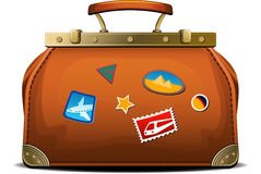 Old-fashioned travel bag (valise). Over white. EPS 8 Royalty Free Stock Photos