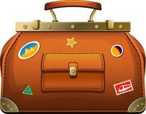 Old-fashioned travel bag (valise). Over white. EPS 8 Stock Photo