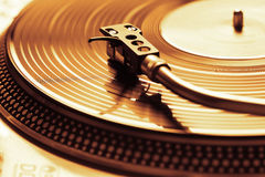 Old fashioned turntable playing a track royalty free stock photography