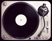 Old fashioned turntable playing a track Royalty Free Stock Image