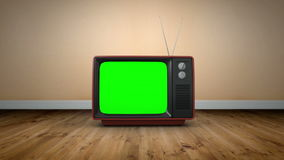 Old fashioned tv with green screen. Digital animation of Old fashioned tv with green screen stock video footage