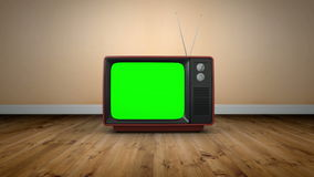 Old fashioned tv with green screen stock footage