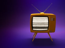 Old fashioned TV set. 3D render of a old fashioned TV set on purple background stock illustration