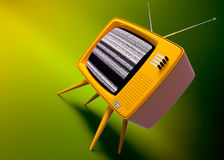 Old fashioned TV set. 3D render of a old fashioned TV set on green background Stock Images