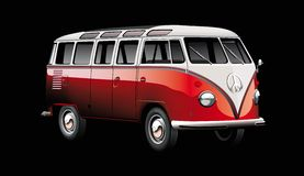 Old-fashioned van on black Royalty Free Stock Image