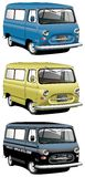 Old-fashioned van set. Vectorial icon set of English old-fashioned vans with right-side steering wheel isolated on white backgrounds. Every van is in separate Stock Photo