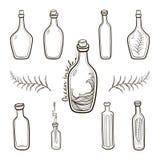 Old fashioned  vintage bottles set. Hand drawing countour illustration on white background Royalty Free Stock Photo