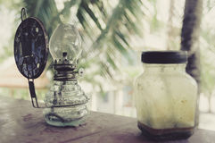 Old fashioned vintage kerosene oil lamp Stock Image
