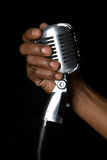 Old fashioned vintage microphone. Old fashion retro microphone for singing royalty free stock photo