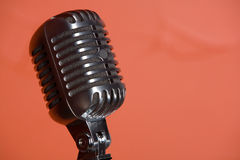 Old fashioned vintage microphone. Old fashion retro microphone for singing Stock Photography