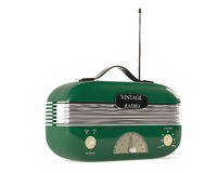 Old fashioned vintage portable radio.Green color Stock Images