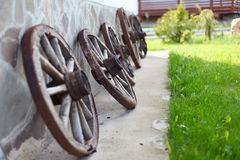 Old-fashioned wagon wheels Stock Photos