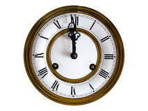 Old-fashioned wall clock. With gold frames around Stock Photography