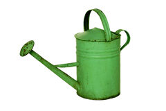 Old-fashioned watering can. Nice, old-fashioned, green watering can Stock Images