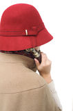 Old-fashioned woman holding telephone receiver Royalty Free Stock Photos