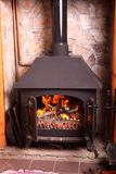 Old fashioned wood burning stove. In a country house stock photo