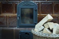 Old fashioned wood burning stove Stock Photo