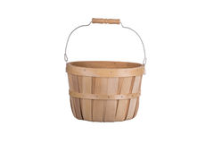 Old fashioned wooden basket front view  isolated on white Royalty Free Stock Photo