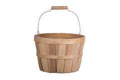 Old fashioned wooden basket 3/4 view isolated on white. Background stock photos