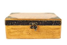 Old-fashioned wooden casket Stock Photography