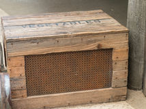 Old fashioned wooden crate. With mesh front side used for vegetables shipment Royalty Free Stock Images