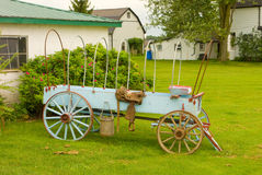 An old-fashioned wooden farm wagon Royalty Free Stock Photos