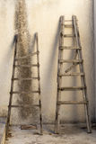 Old fashioned wooden ladders Stock Images