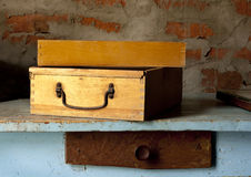 Old fashioned wooden toolbox on the table Royalty Free Stock Photo