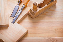 Old fashioned woodworkers plane carpentry chisel Stock Images