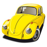 Old-fashioned yellow car. Vectorial image of old-fashioned Volkswagen Beetle Royalty Free Stock Photography