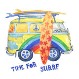 Old-fashioned yellow hippie сamper bus with surfboards, painted in rainbow colors with clouds and flowers. Watercolor hand drawn painting illustration stock illustration