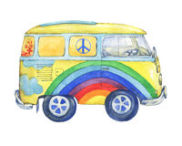 Old-fashioned yellow hippie сamper bus, painted in rainbow colors with clouds and flowers.