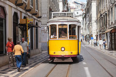 Old-fashioned yellow tram Stock Photo