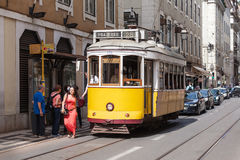 Old-fashioned yellow tram Stock Photography