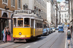 Old-fashioned yellow tram Royalty Free Stock Photo