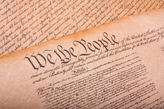 Old fashionet American Constitution. On parchment paper Royalty Free Stock Photos