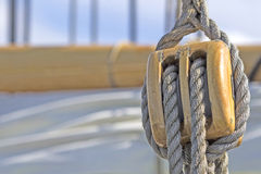 Old-fasihioned sail ship. Detail. Royalty Free Stock Photo