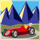 Old fast race car. Racer driving old fast race car, vector illustration Royalty Free Stock Photography